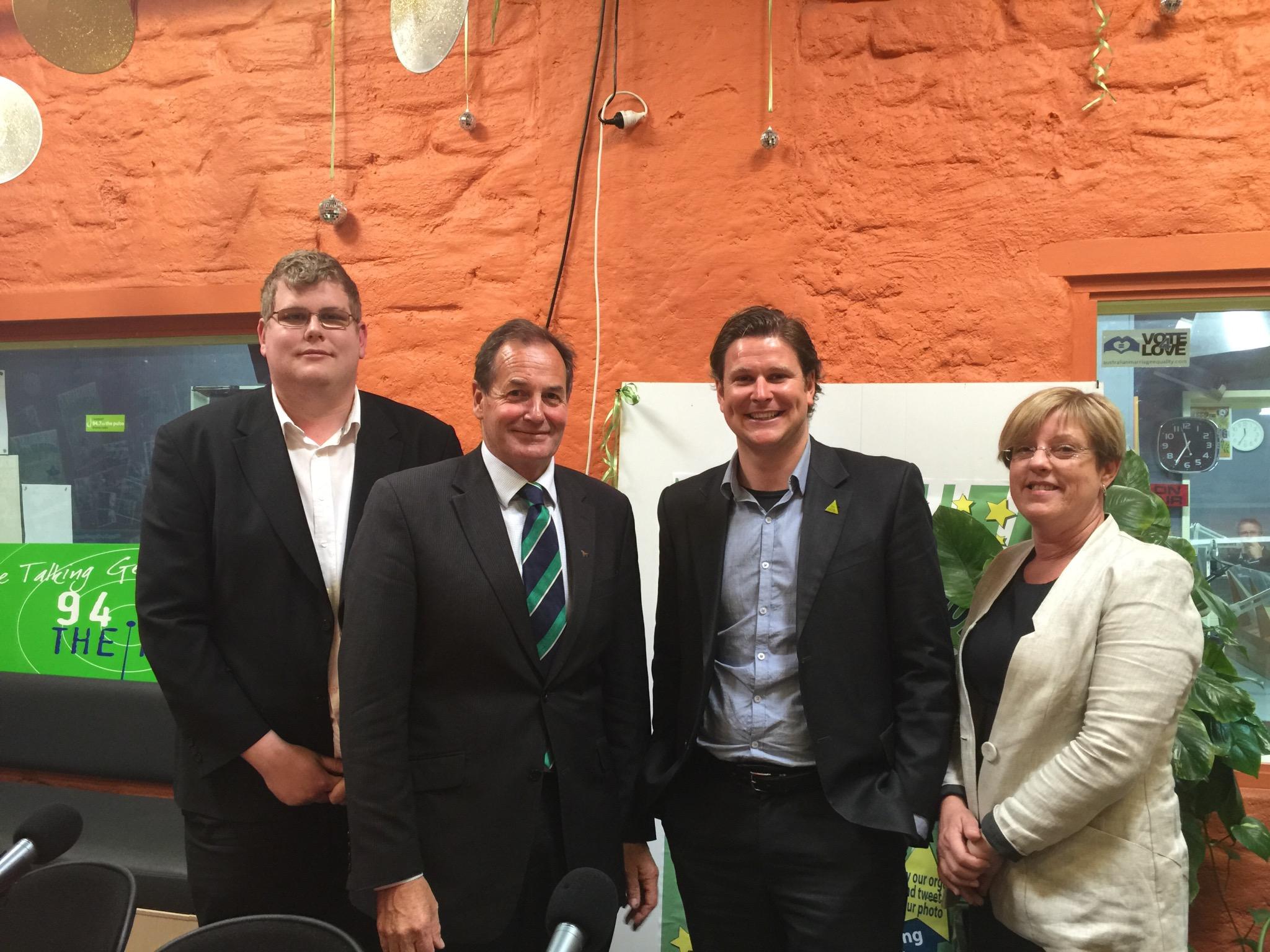 Mitchell Dye with Simon Ramsay, Lloyd Davies and Lisa Neville
