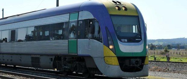 V/Line train on railway tracks