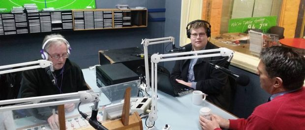 Richard Marles MP with Mitchell Dye in the studios of 94.7 The Pulse
