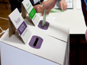 Ballot boxes on polling day