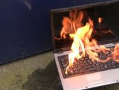 Laptop battery fire