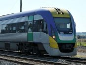 V/Line train on railway tracks