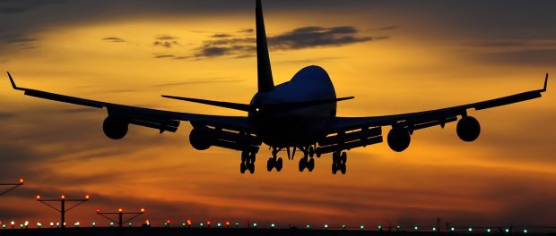 747 aircraft sunset